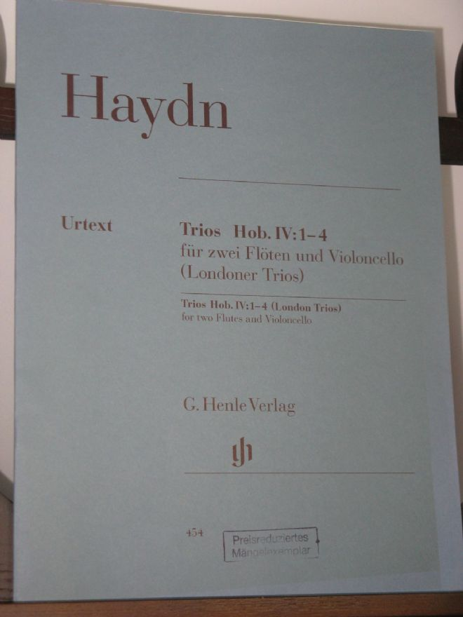 Haydn J - Trios Hob IV: 1-4 (London Trios) for 2 Flutes & Violoncello